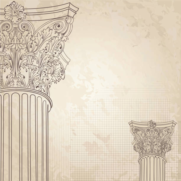 Classic columns background. Roman corinthian column. Illustration on old paper background Classic columns seamless background. Roman corinthian column. Illustration onold paper background for design sketch romanesque stock illustrations