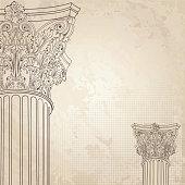 Classic columns background. Roman corinthian column. Illustration on old paper background