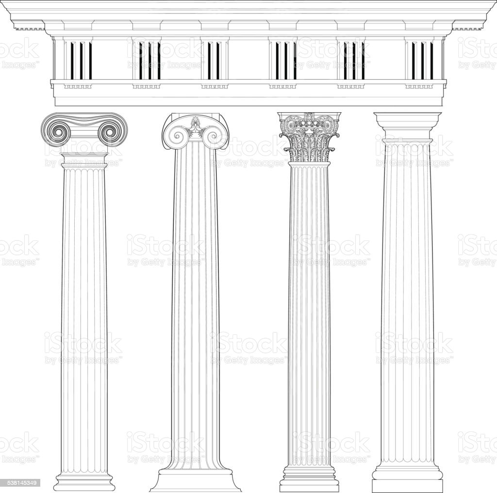classic columns set vector art illustration