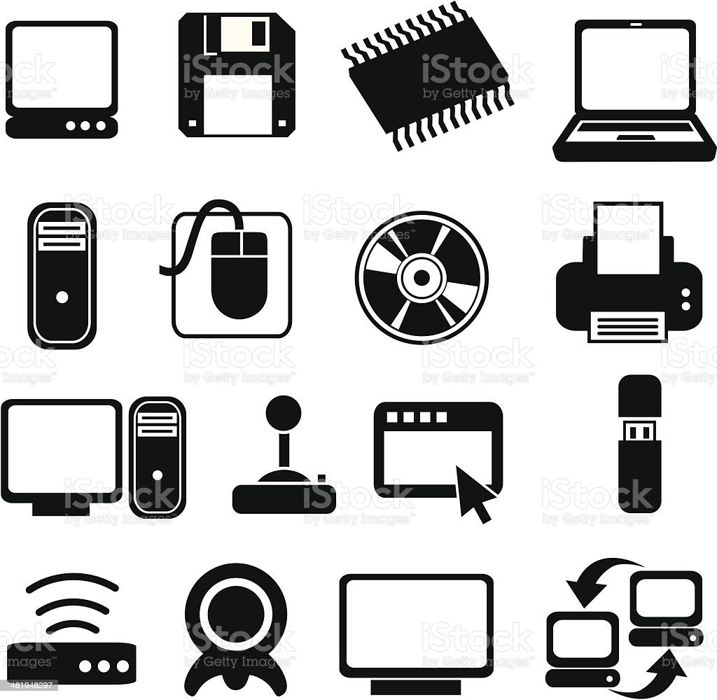 classic computer systems icons royalty-free classic computer systems icons stock vector art & more images of black and white