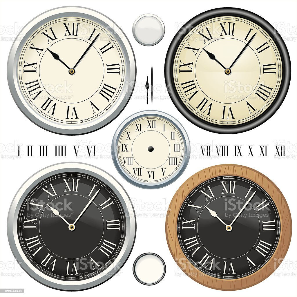 Classic Cream Clocks vector art illustration