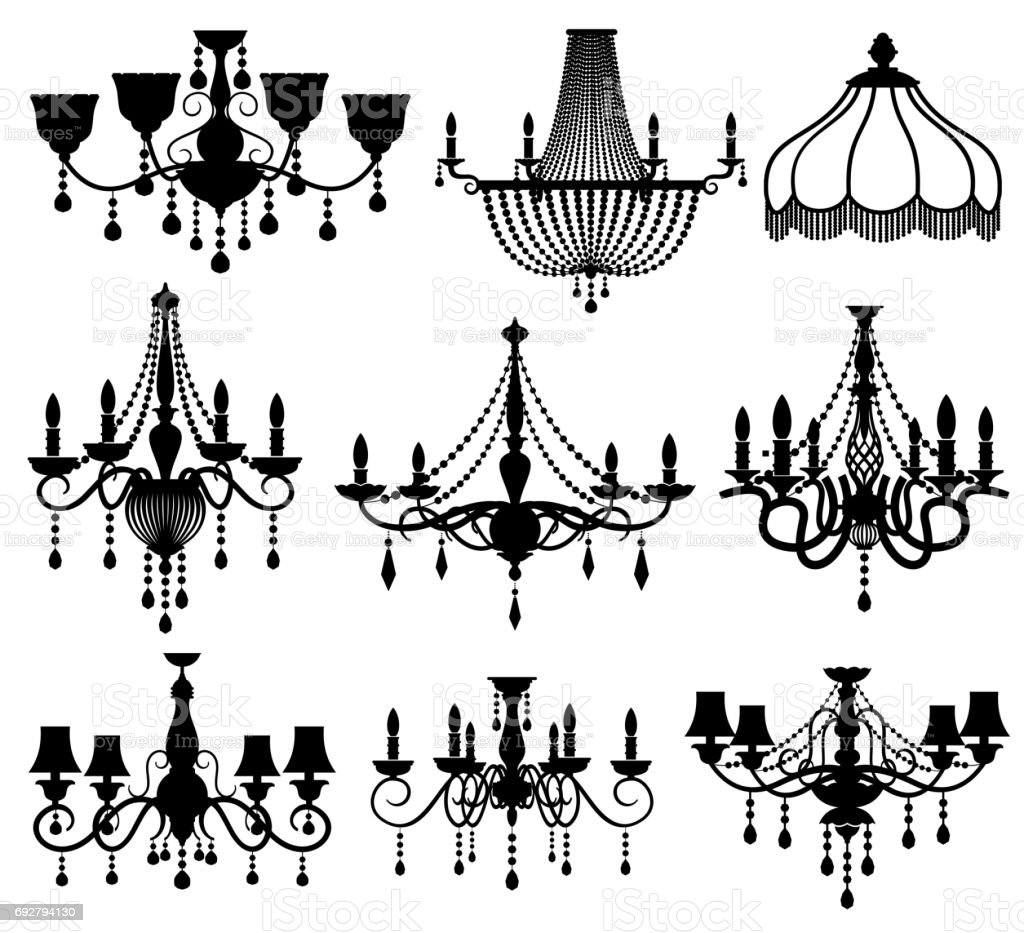 Classic crystal glass antique elegant chandeliers black vector silhouettes vector art illustration