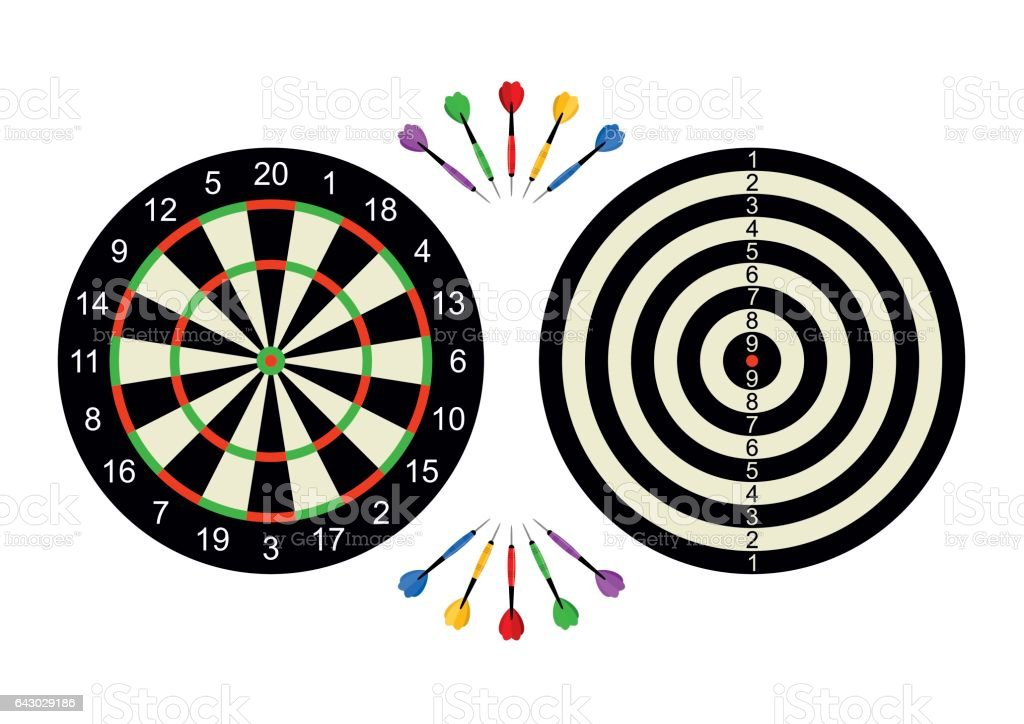 Classic dart board front and back with darts arrow isolated on white background. Vector Illustration vector art illustration