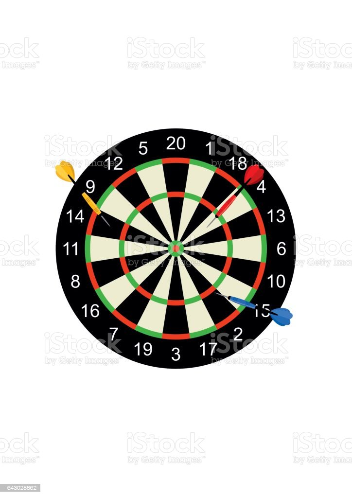 Classic dart board target and darts arrow isolated on white background. Vector Illustration vector art illustration