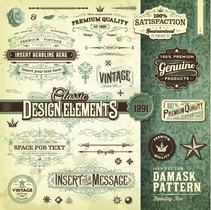 A collection of vintage styled ornate labels and elements. Comes with a matching tilable damask pattern. EPS 10 file, with transparencies, layered & grouped,