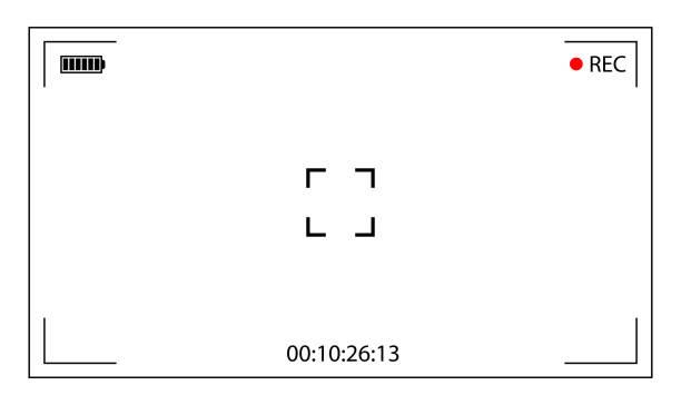 ilustrações de stock, clip art, desenhos animados e ícones de classic digital video camera focusing screen. white wide framed viewfinder camera recording. vector illustration - visor digital