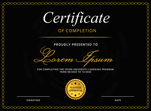Classic Diploma or Certificate Template for E-Learning Education Completion in Luxury Black and Gold Colors with Gold Stamp