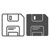 istock Classic diskette line and glyph icon. Data memory storage of software or documents symbol, outline style pictogram on white background. Technology sign for mobile concept, web design. Vector graphics. 1216860705