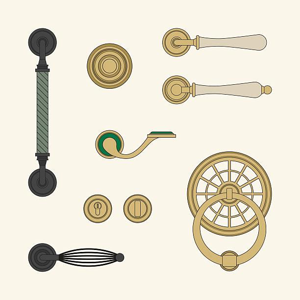 klassische türklinken - türklopfer stock-grafiken, -clipart, -cartoons und -symbole