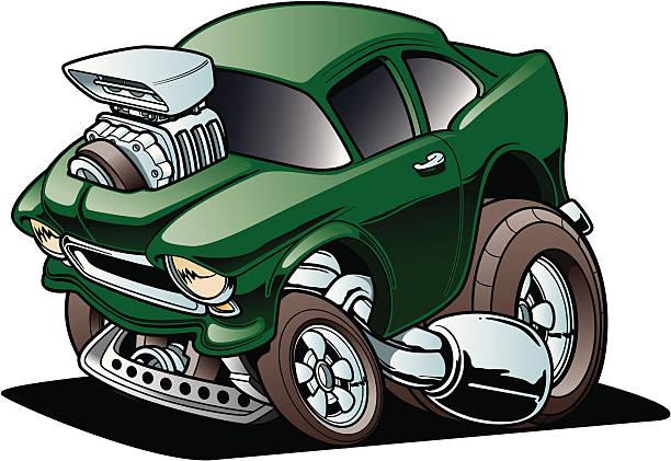 Classic Drag Racer vector art illustration