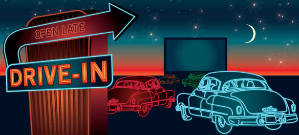 classic drive-in theatre with cars and  neon sign - 1950s style stock illustrations, clip art, cartoons, & icons