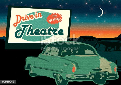 istock Classic Drive-In Theatre with cars and  sign at dusk 505890451