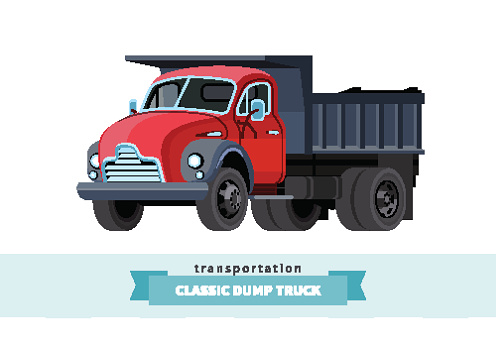 Classic dump truck front side view