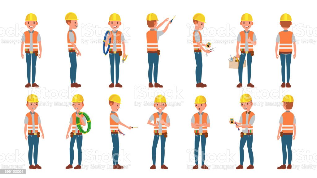 Classic Electrician Vector. Different Poses. Working Man. Isolated Flat Cartoon Character Illustration vector art illustration