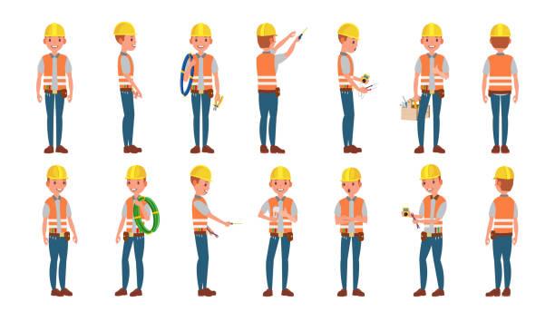 Vector de electricista clásico. Diferentes Poses. Trabajo hombre aislado plano historieta carácter ilustración - ilustración de arte vectorial