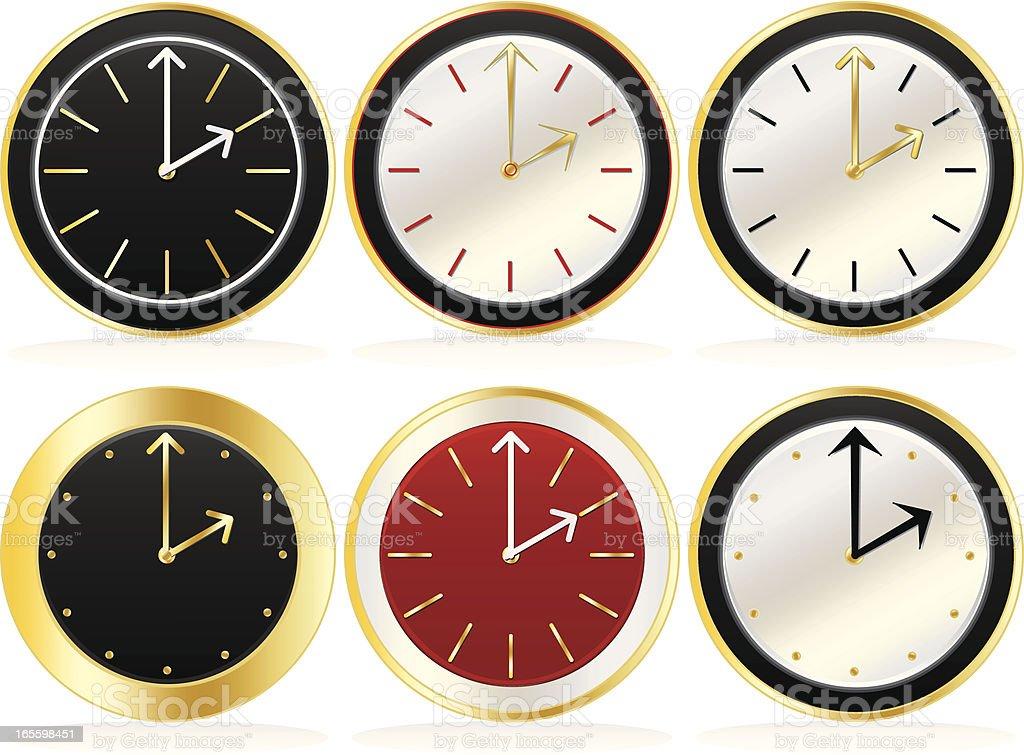 Classic, elegantes relógio rostos em diversos estilos e esquemas de cores ilustração de classic elegantes relógio rostos em diversos estilos e esquemas de cores e mais banco de imagens de dourado - descrição de cor royalty-free