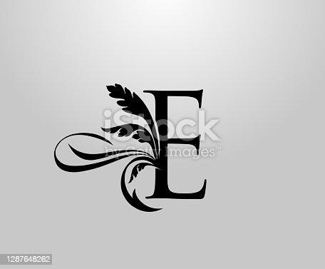 Classic Elegant letter E Floral logo.