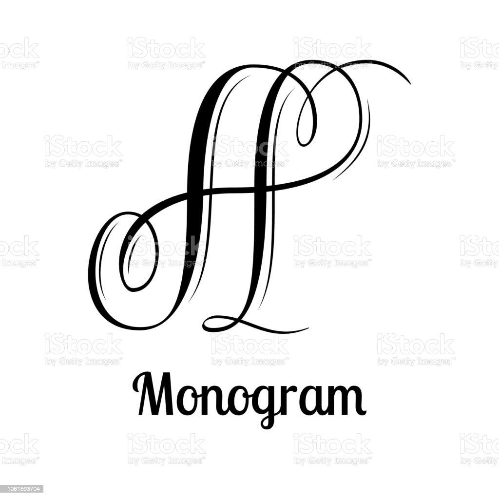Classic emblem design - letter A calligraphy vector art illustration