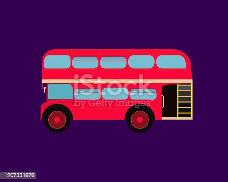 Classic English double-decker bus. Blue isolated background.