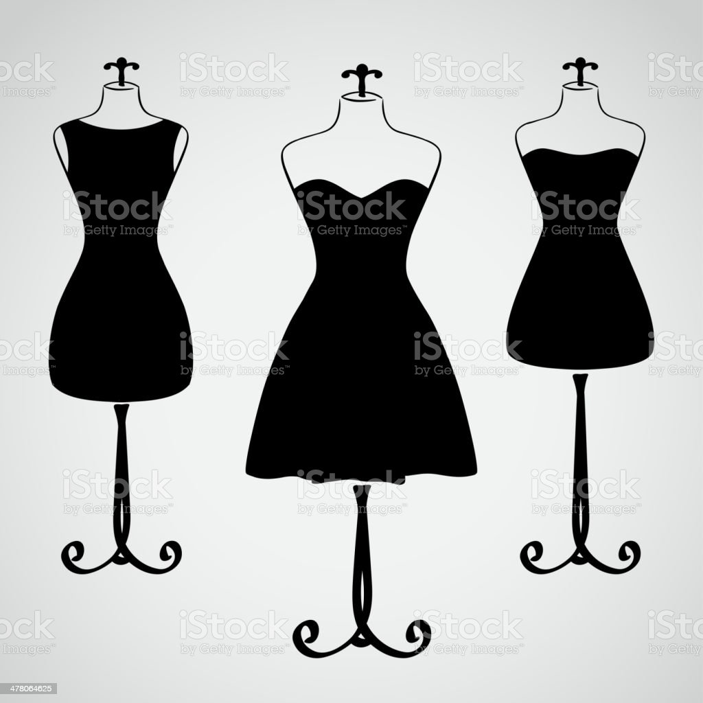 Classic female dress silhouette vector art illustration
