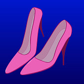 Classic female model high-heeled shoes on a colored background