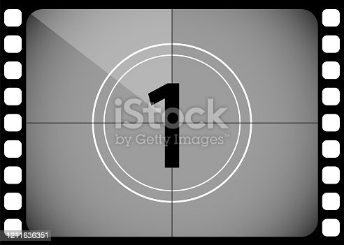 A classic film countdown frame at the number one. Old fashioned film counter. Vector illustration.
