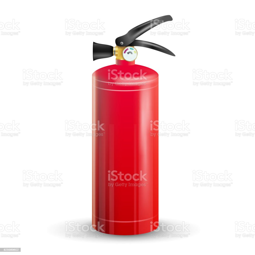 Classic Fire Extinguisher Vector. Metal Glossiness 3D Realistic Red Fire Extinguisher Isolated Illustration vector art illustration
