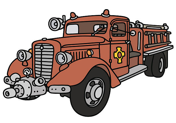 Best Vintage Fire Truck Illustrations, Royalty-Free Vector ...
