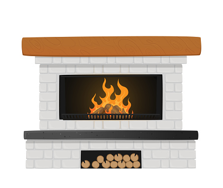 Classic Fireplace of White Brick with Burning Fire Inside and Niche for Logs. Indoors Chimney in Traditional Style