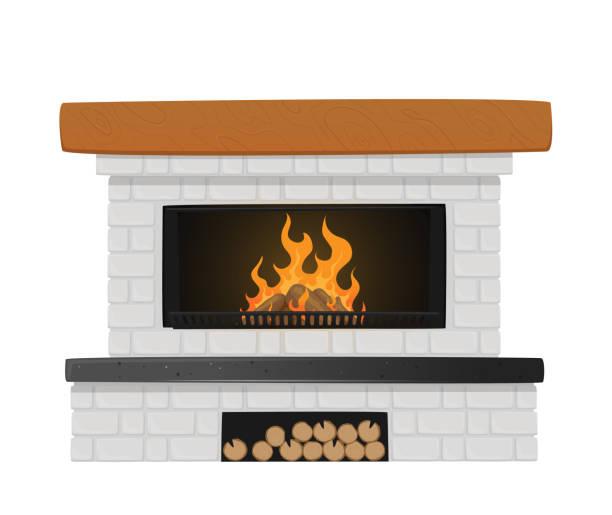 bildbanksillustrationer, clip art samt tecknat material och ikoner med klassisk eldstad av vitt tegel med brinnande eld inuti och nisch för stockar. inomhus chimney i traditionell stil - wood sign isolated