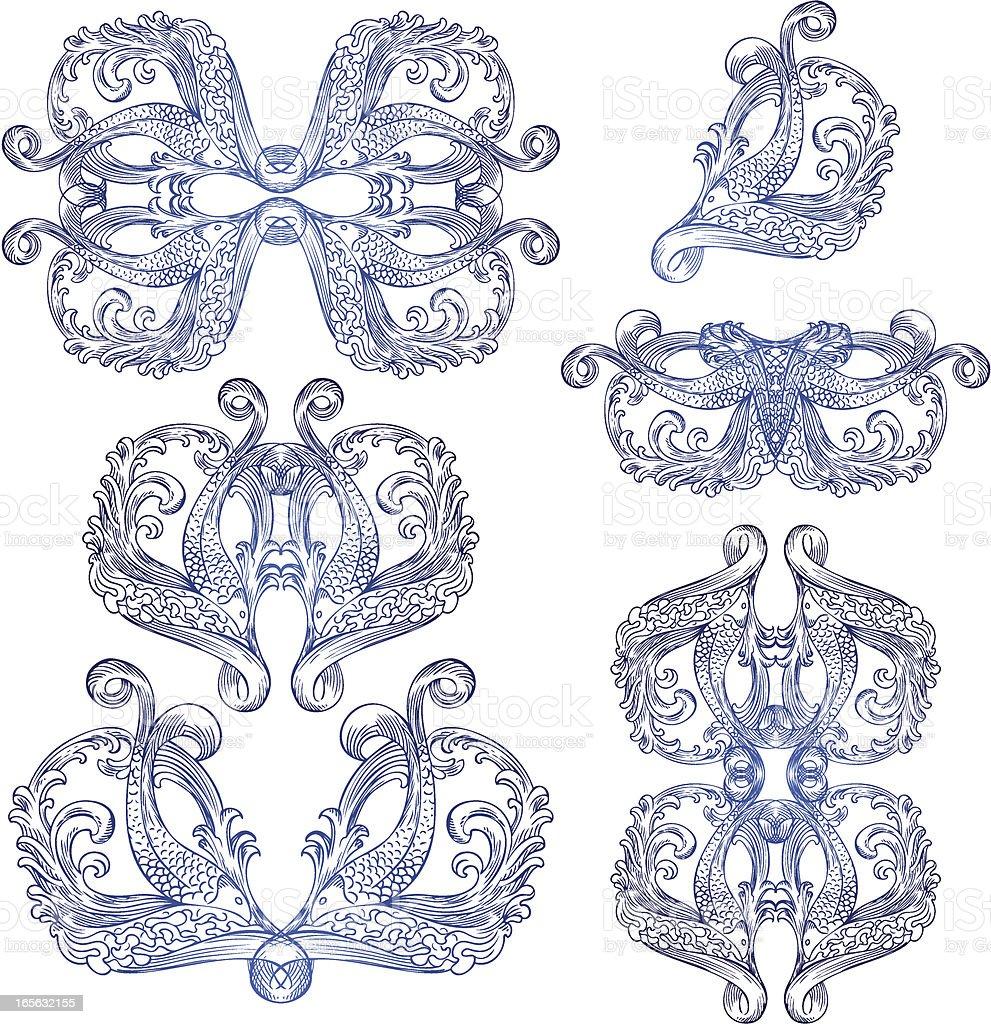 classic fish elements royalty-free stock vector art