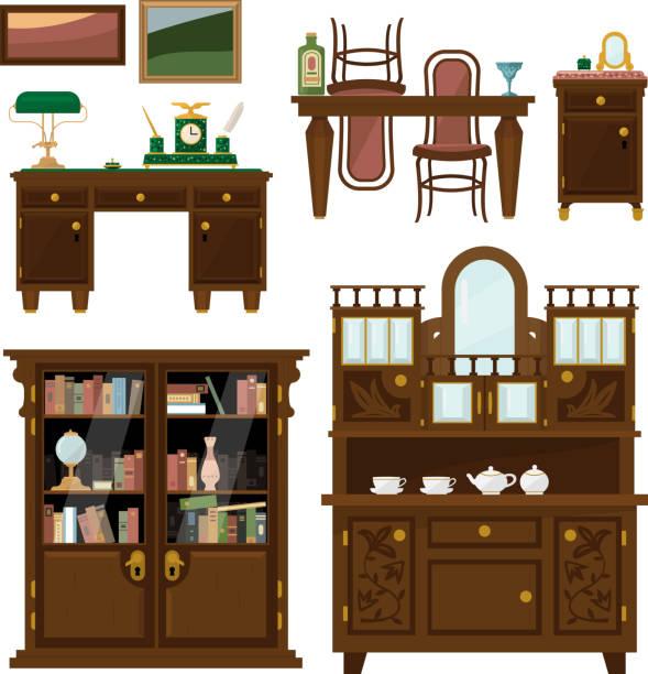 ilustrações de stock, clip art, desenhos animados e ícones de conjunto de mobiliário clássico em estilo flat vector - sideboard
