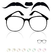Classic glasses, mustache. Set of colored lenses