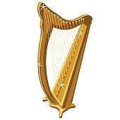 istock Classic gold sparkle harp, cartoon style 531634280