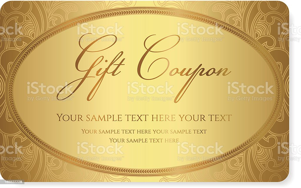 Classic golden gift coupon template design royalty-free classic golden gift coupon template design stock vector art & more images of abstract
