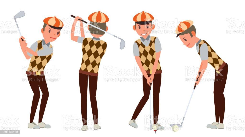 Ilustración de Vector De Jugador De Golf Classic Swing Shot En Curso ...