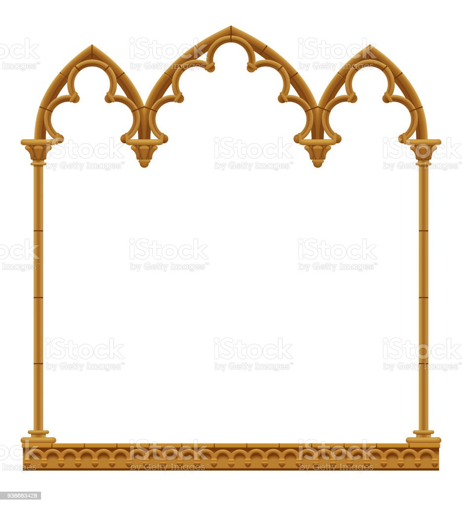 Classic Gothic Architectural Decorative Frame Isolated On White Royalty Free
