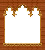 Classic gothic architectural decorative frame on red brick wall. Vintage design element, cover and poster template. Vector Illustration