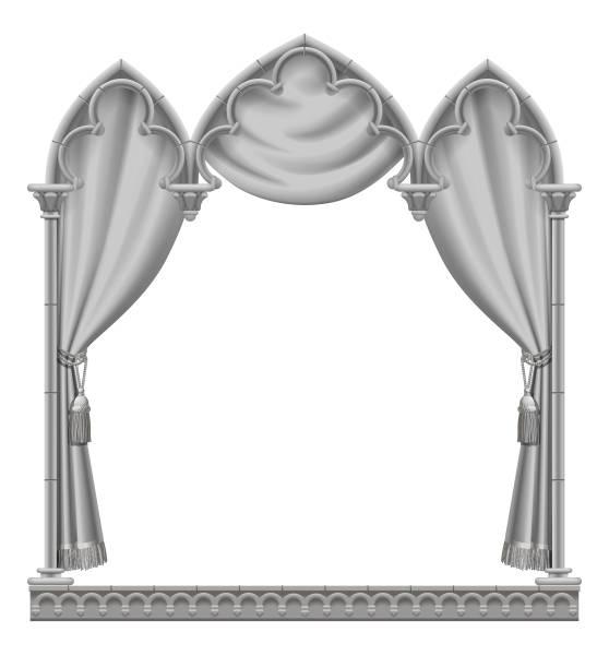 klassische graue gotischen architektonischen zierrahmen mit vorhang - türposter stock-grafiken, -clipart, -cartoons und -symbole