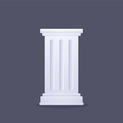 Classic Greek or Roman column. Ancient doric pillar isolated on dark background. Vector clip art illustration.