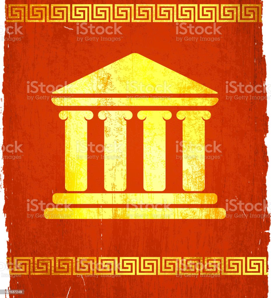 Classic Greek temple on royalty free vector Background royalty-free stock vector art