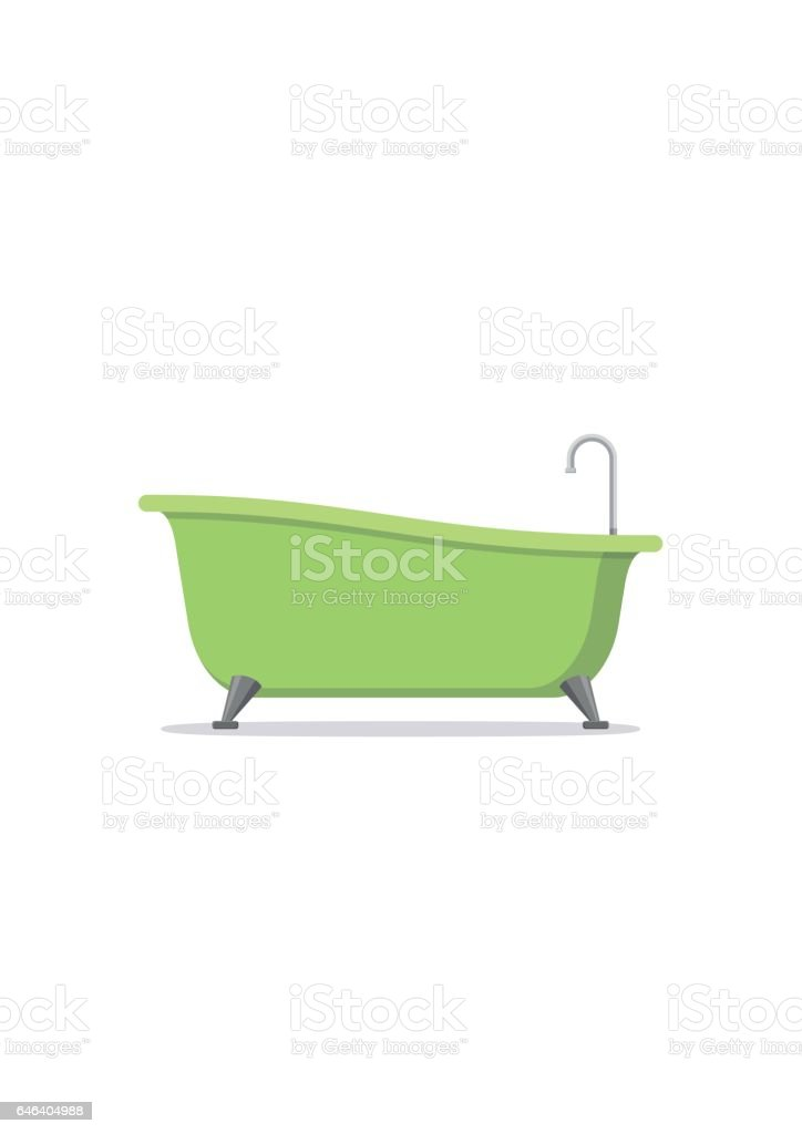 Classic green bathtub isolated on white background. Bath time in flat style vector illustration vector art illustration