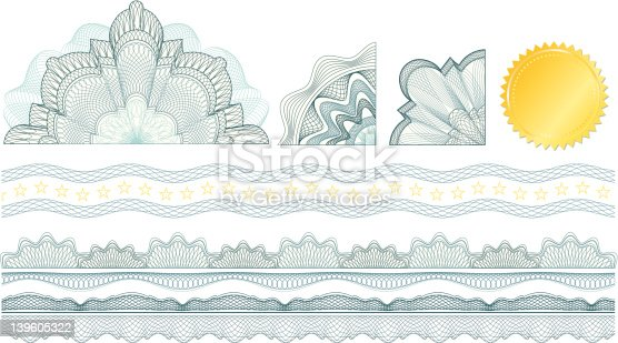 istock Classic guilloche elements for make diploma or certificate / vector 139605322