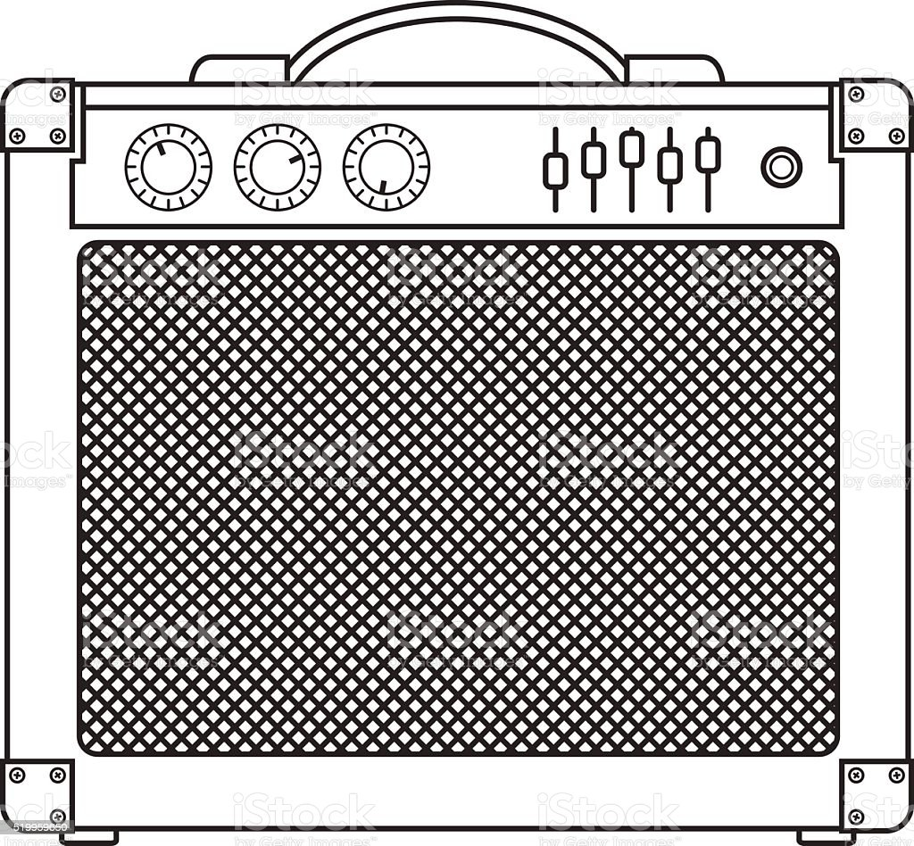 Classic Guitar Amplifier vector art illustration