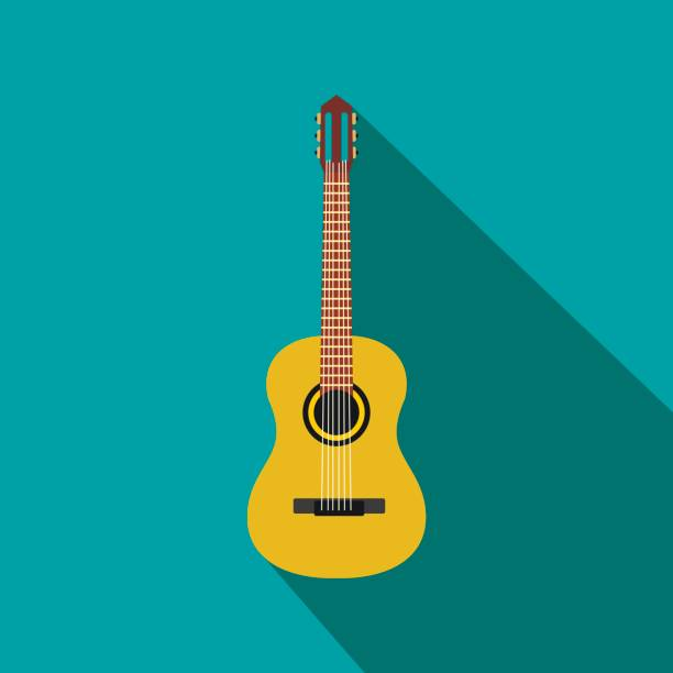 classic guitar icon, flat style - instrument strunowy stock illustrations