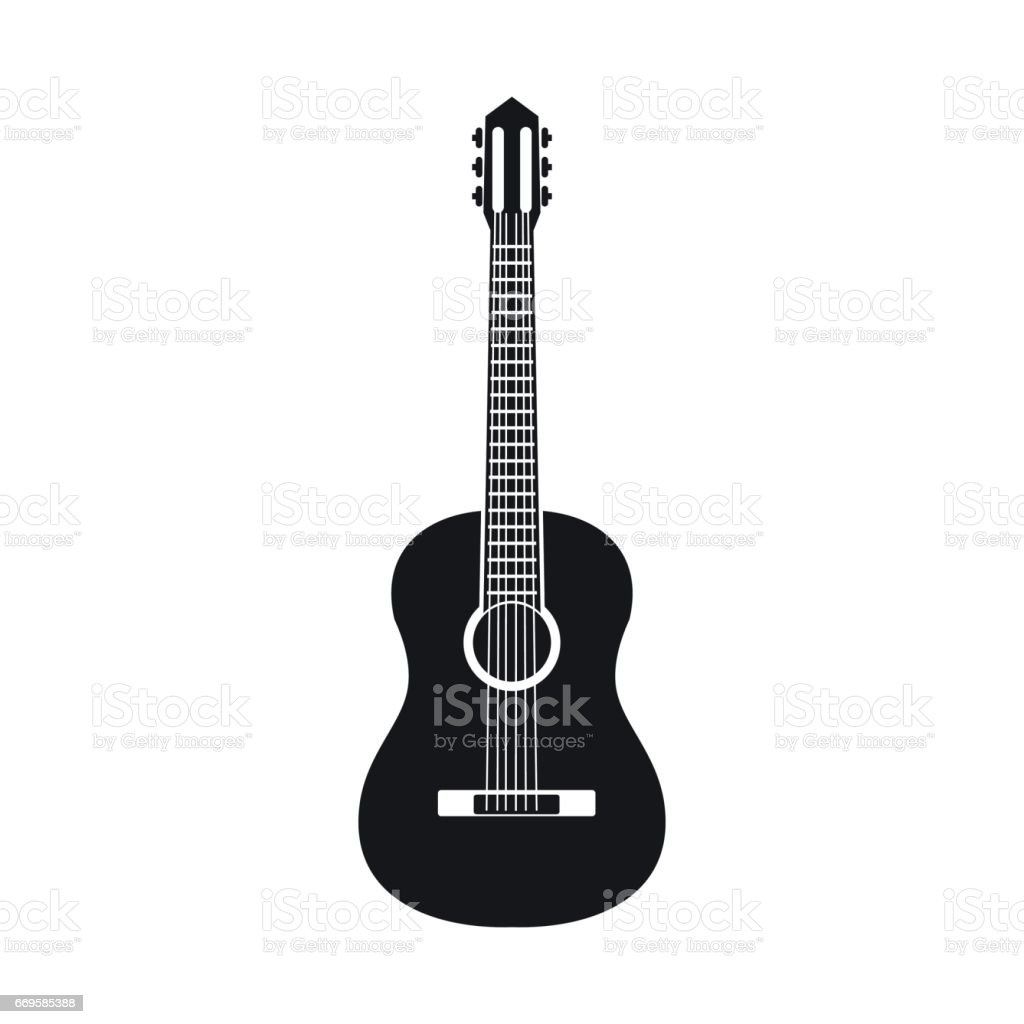 Classic guitar icon, simple style vector art illustration