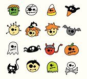 Selection of iconic Halloween imagery presented in a cute cartoon style. Vector illustration.