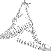 Classic hand drawn vintage sneakers