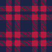 Classic Hand-Drawn Blue and Red Buffalo Plaid Checks Vector Seamless Pattern. Traditional Retro Textile Print Perfect for Fashion, Home decor, Stationery