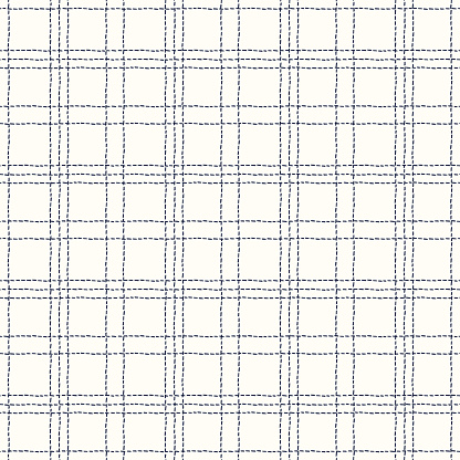 Classic Hand-Drawn White and Blue Stitched Plaid Checks Vector Seamless Pattern
